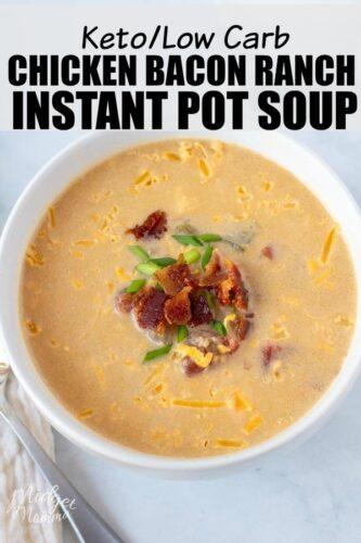 Keto Bacon Ranch Chicken Soup in a bowl