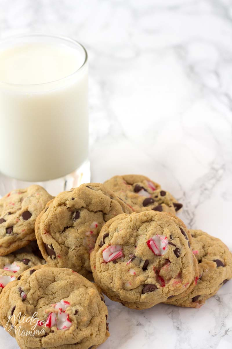 Soft and chewy peppermint and chocolate chip cookies with a glass of milk