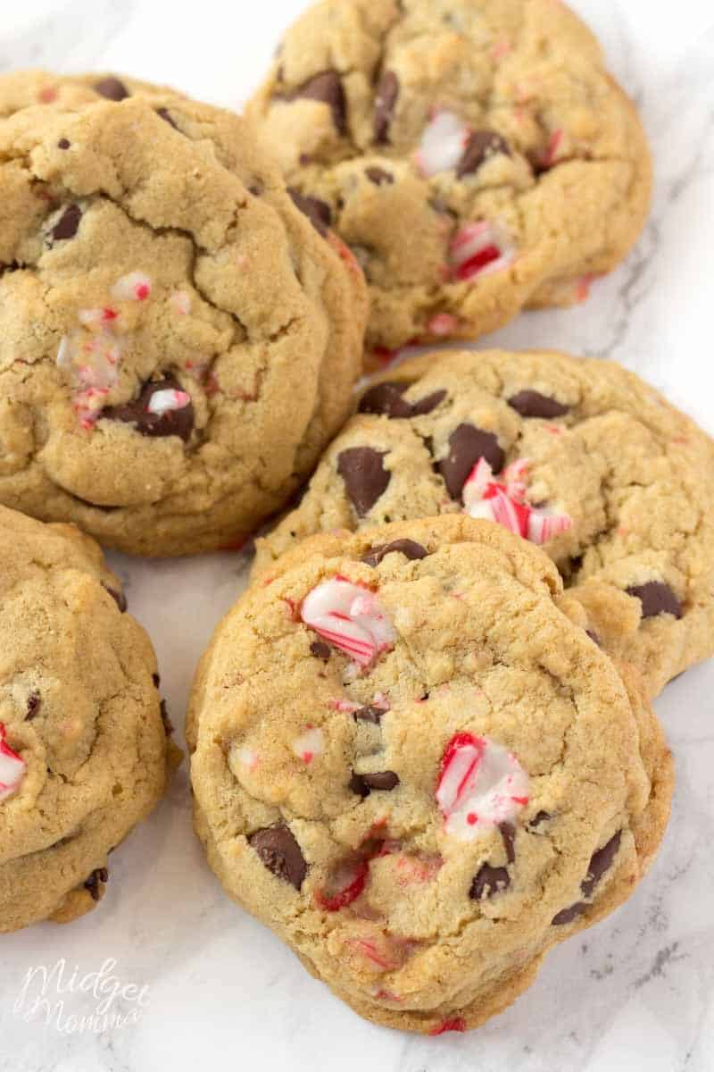Pile of Peppermint Chocolate Chip Cookies made with candy canes and chocolate chips
