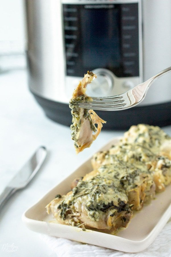 Spinach Artichoke Instant Pot Chicken Thighs