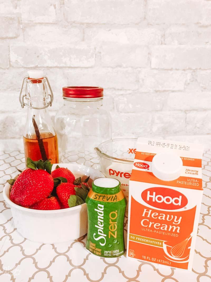 Strawberry homemade keto ice cream ingredients