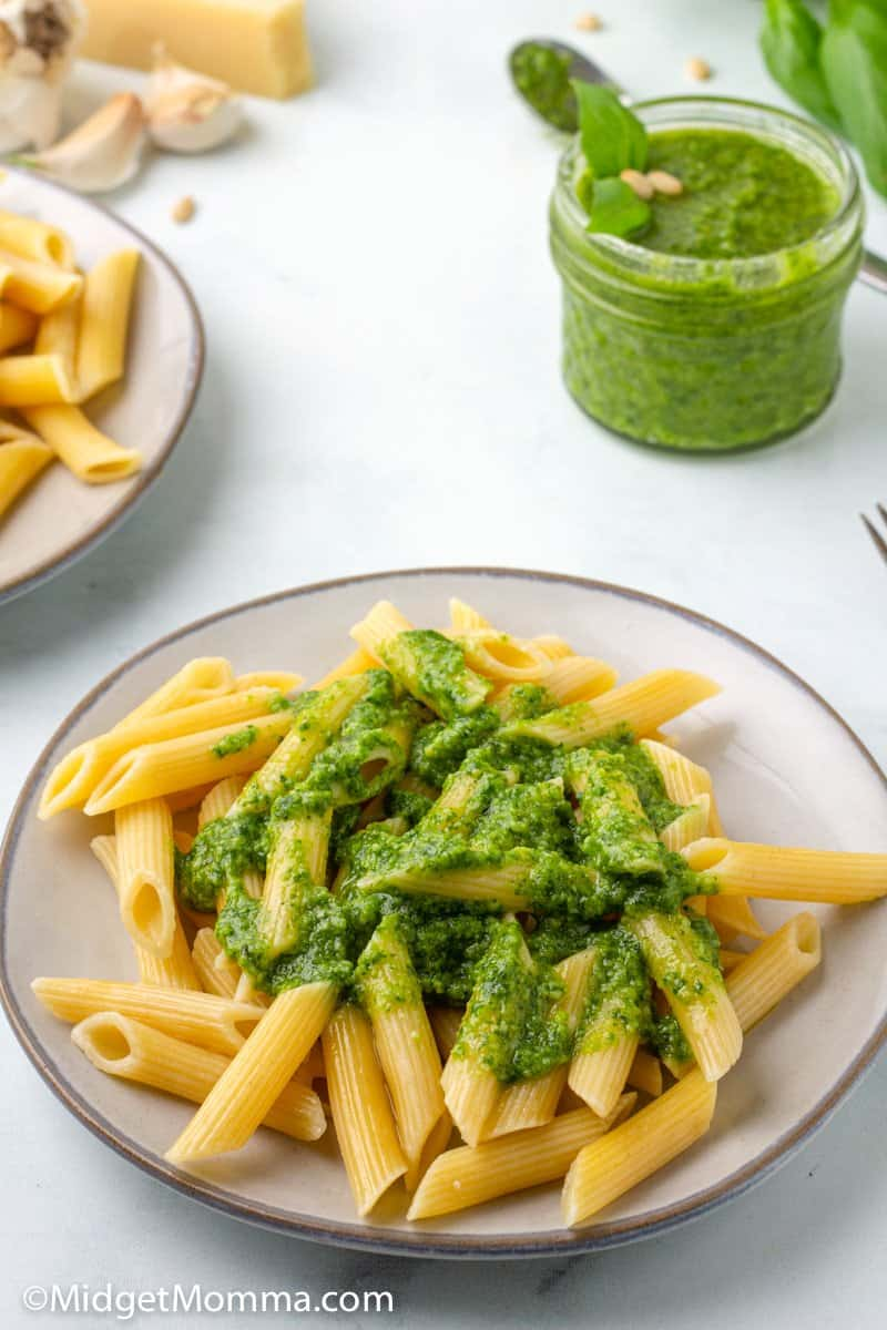 plate of pasta with homemade pesto on top