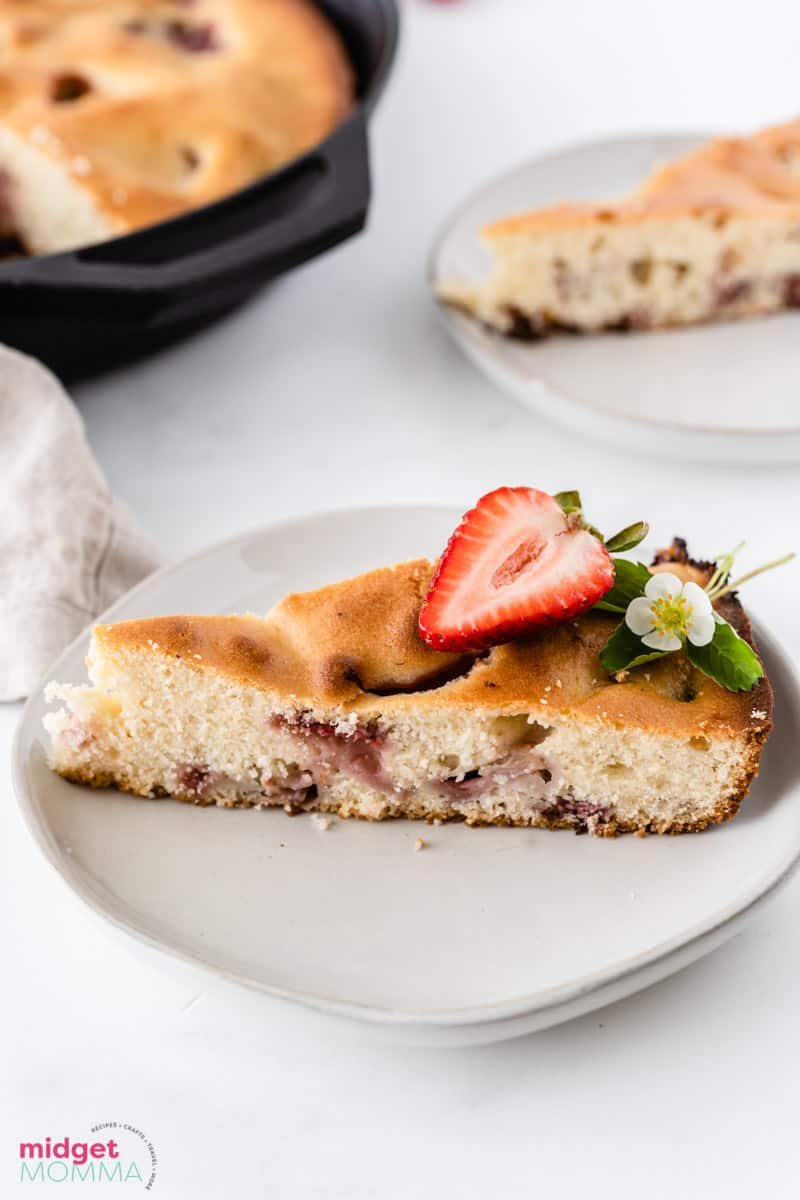 slice of Strawberry Skillet Cake on a plate
