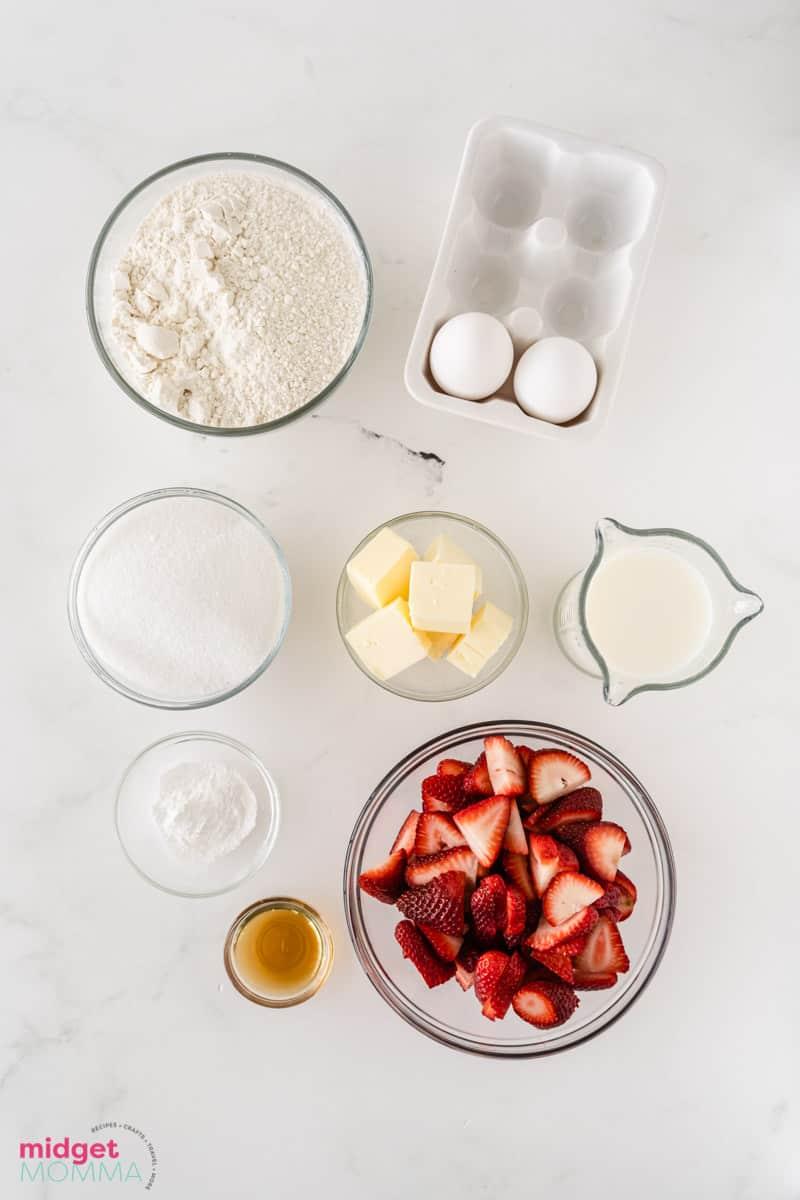 Strawberry Skillet Cake ingredients in bowls