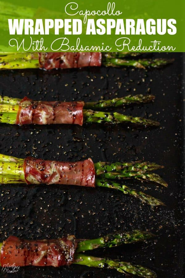 baked Capocollo Wrapped Asparagus With Balsamic Reduction