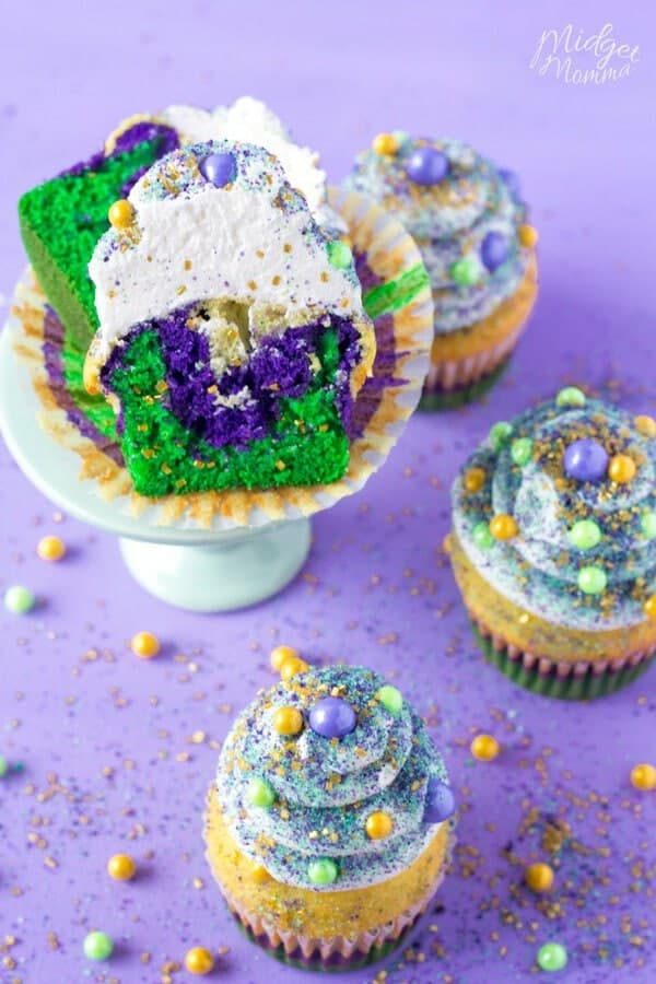 Mardi gras cupcakes with purple cake, green cake and yellow cake mix