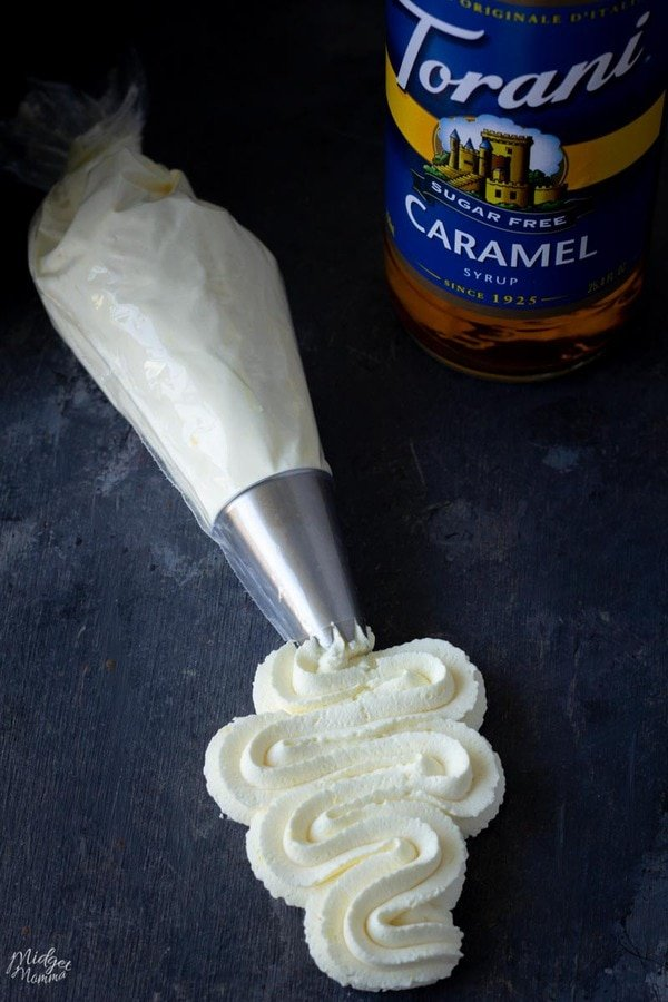 Sugar Free Caramel Frosting in a piping bag