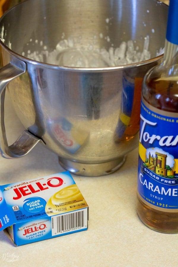 Sugar Free Caramel Frosting ingredients - Heavy cream, sugar free syrup, sugar free vanilla pudding mix