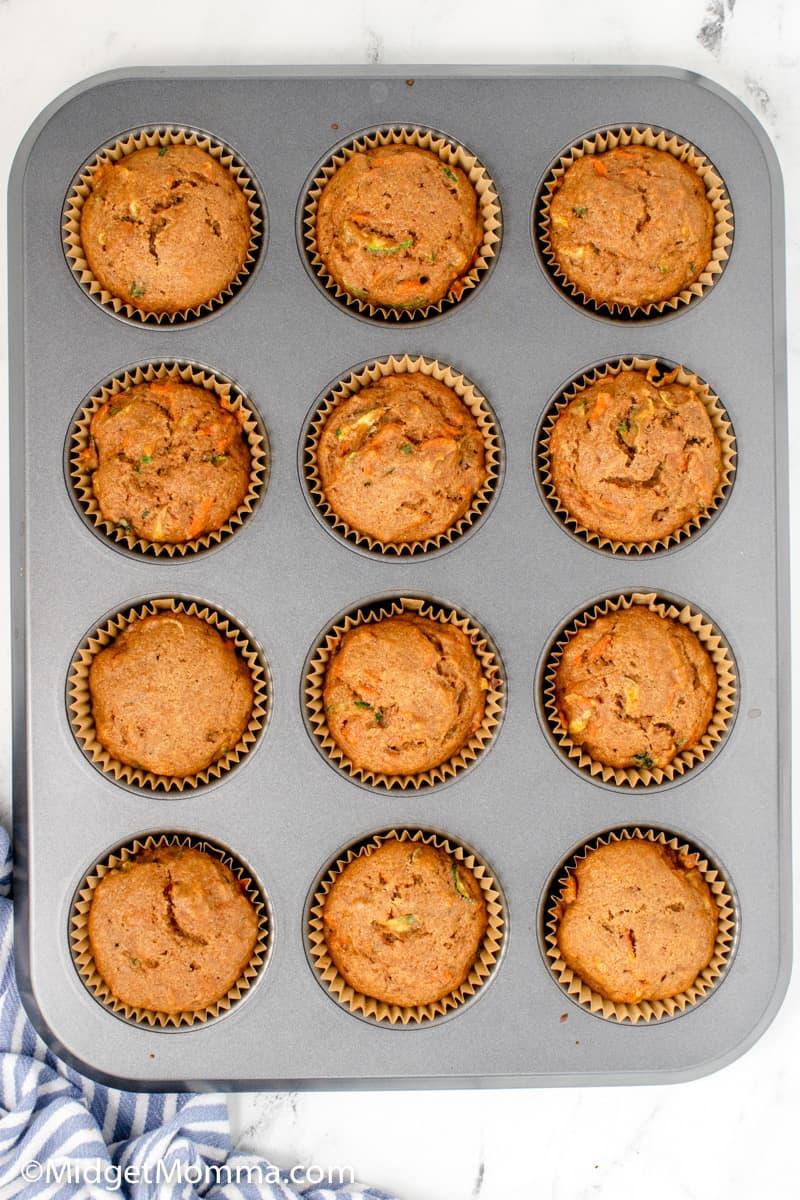 Zucchini Carrot Muffins in a muffin pan
