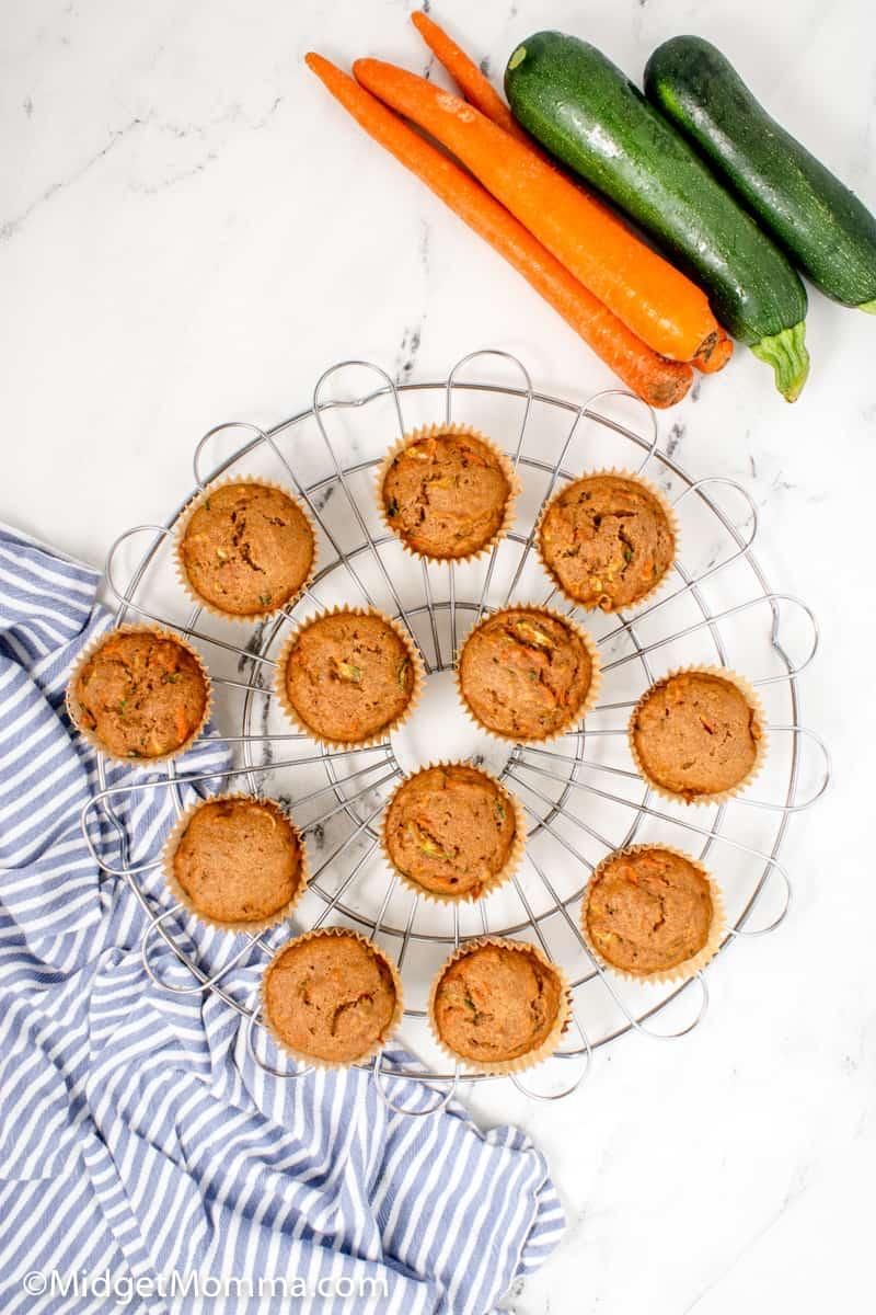 overhead photo of Zucchini Carrot Muffins
