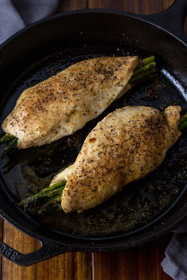 Chicken breasts stuffed with cheese and asparagus