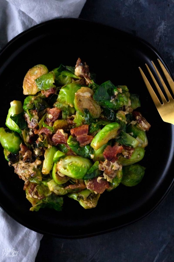 Cheesy Brussel Sprouts with Bacon on a plate