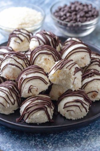 chocolate coconut balls on a plate