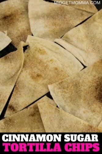 Baked Cinnamon Sugar Tortilla Chip on a plate