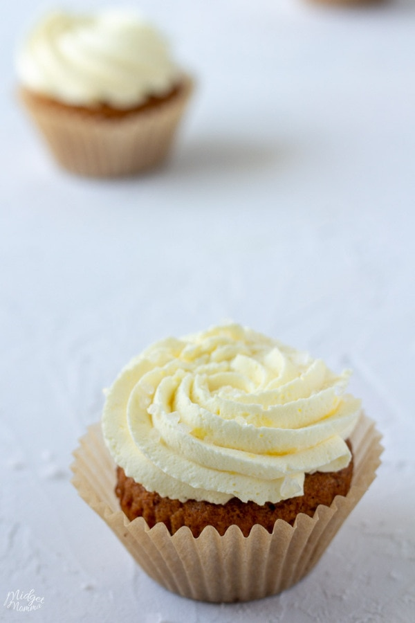 keto cupcakes on the counter, vanilla keto cupcake with keto caramel frosting