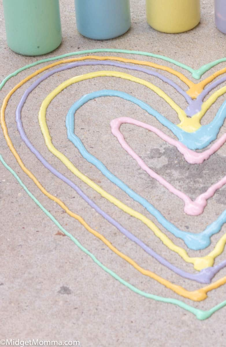 heart doodle with homemade sidewalk paint