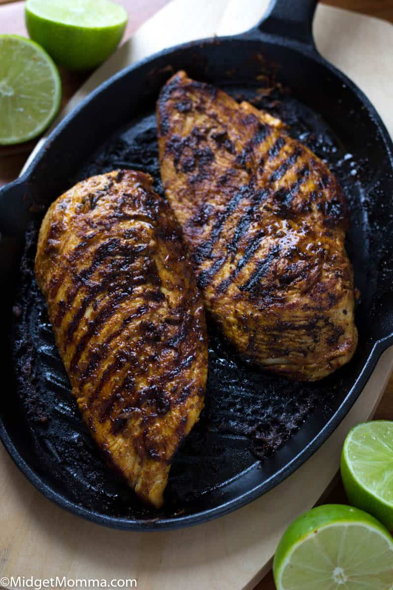 Grilled Chili lime chicken on a grill pan