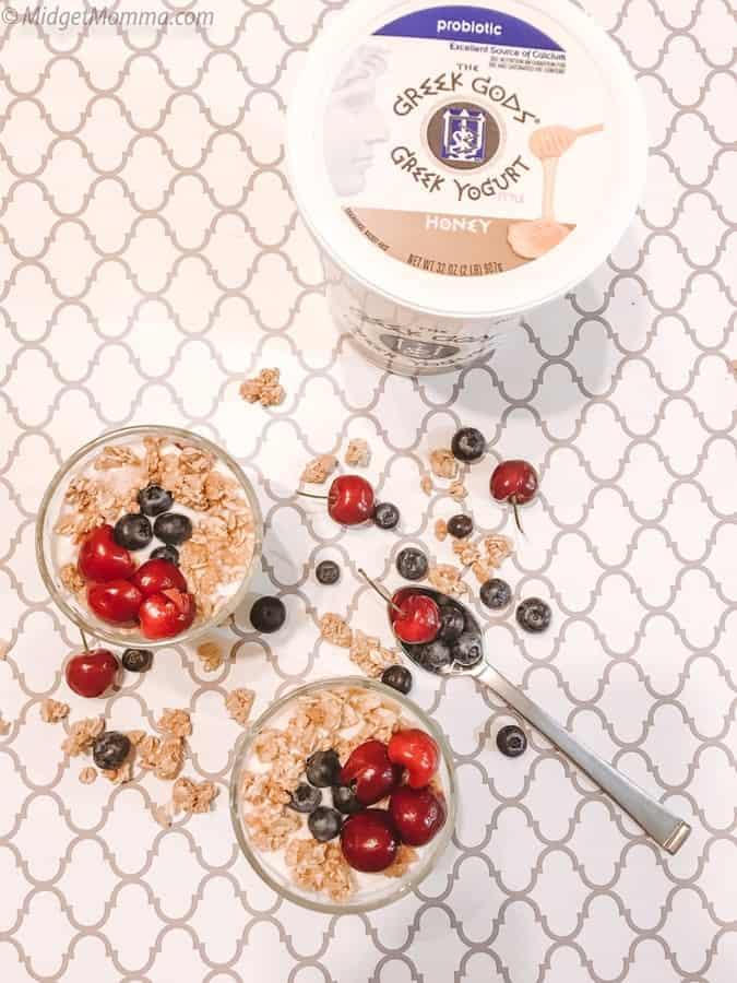 Fruit & Granola Greek Yogurt Parfaits with Greek Gods® Greek-Style Yogurt. #ad #Breakfast #MidgetMomma #Yogurt