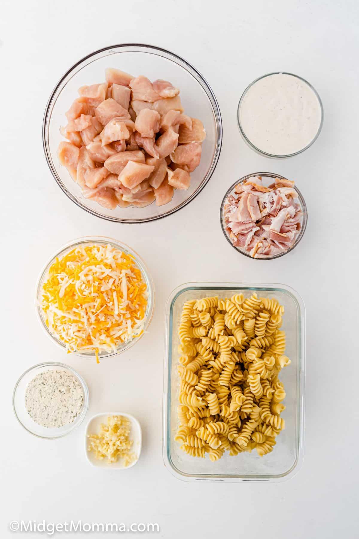Chicken Bacon Ranch Pasta Casserole ingredients