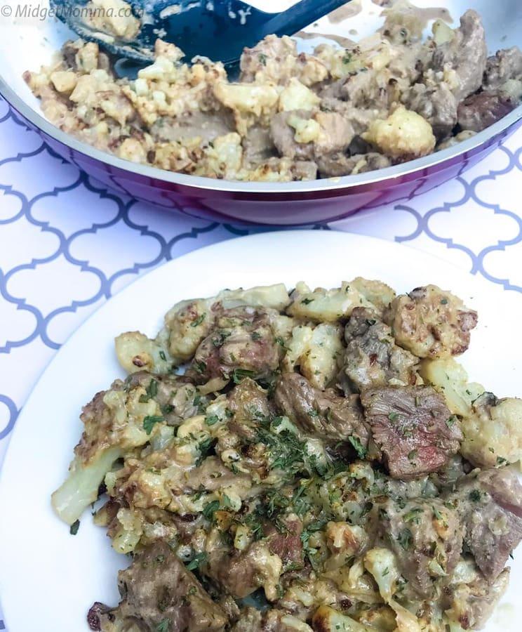 Creamy Steak Bites and cauliflower Skillet Recipe