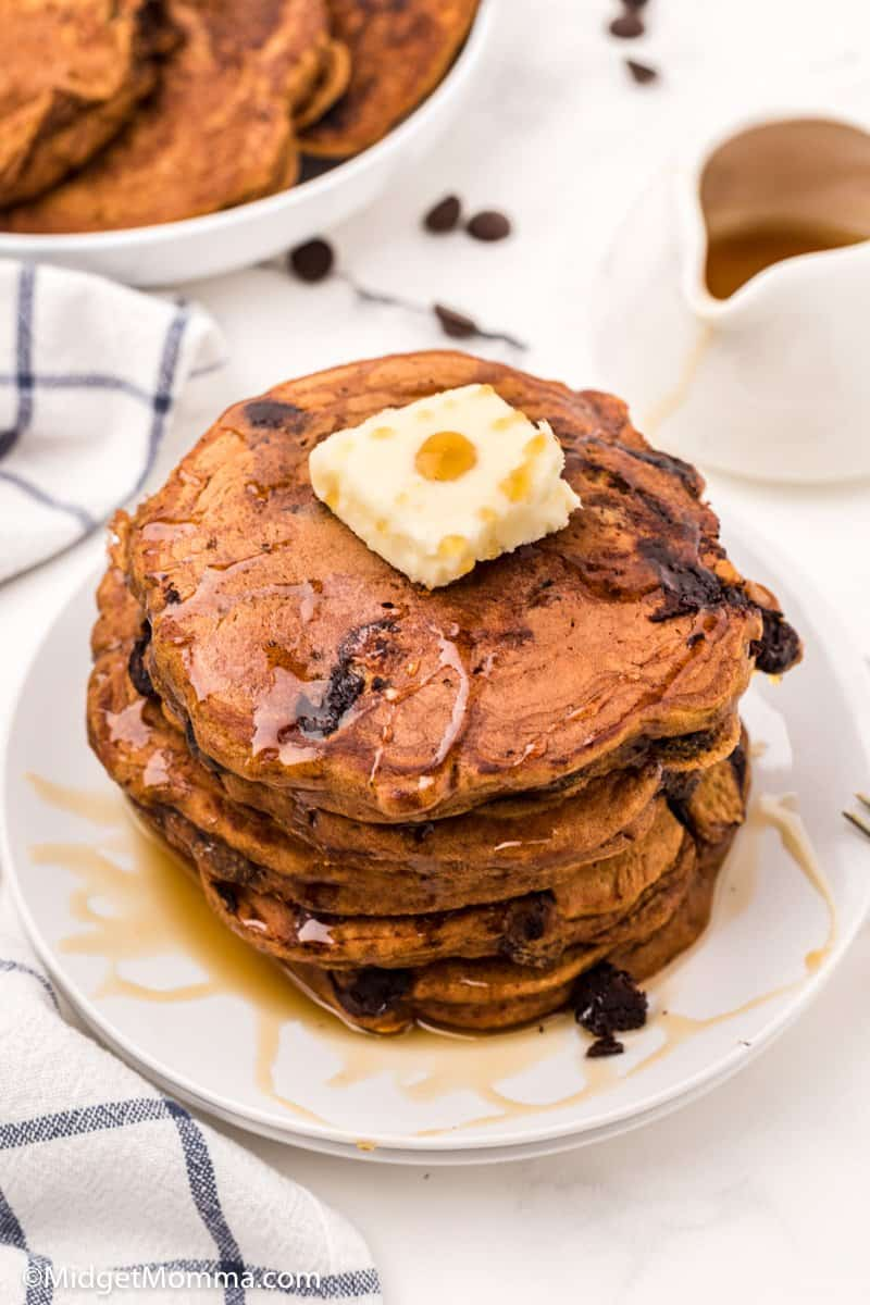 over head photo of Pumpkin Chocolate Chip Pancakes