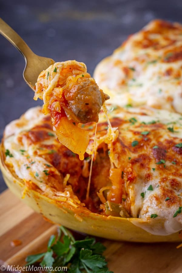 Sausage and Peppers stuffed Spaghetti Squash