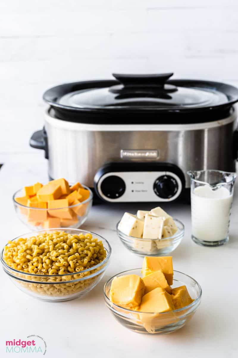 Slow Cooker Macaroni and Cheese ingredients