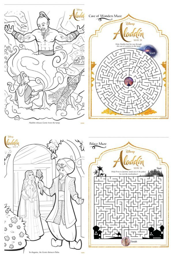 Aladdin Coloring Pages Amp Activity Sheets Midgetmomma