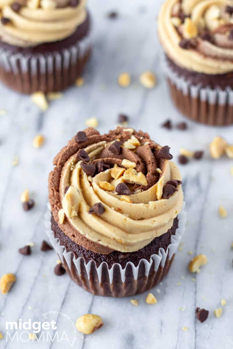 Chocolate Cupcakes with Chocolate Peanut Butter Buttercream Frosting-6