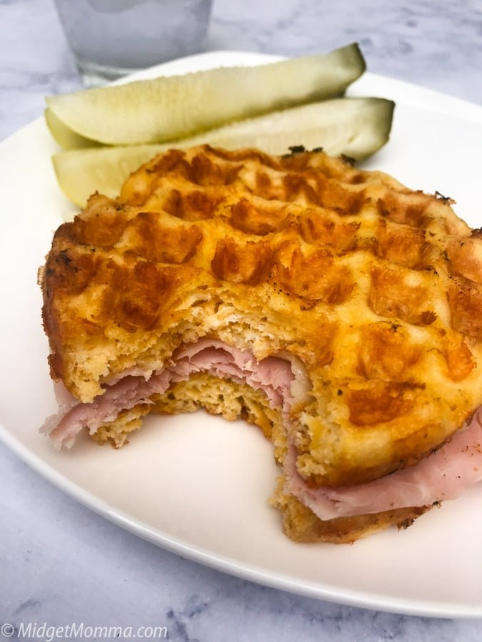 Ham and Cheese sandwich made with Keto Chaffle Recipe
