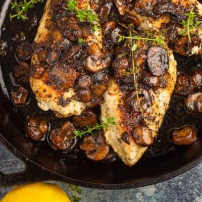Pan Seared chicken with mushrooms sauce
