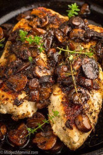 Pan seared chicken and mushrooms