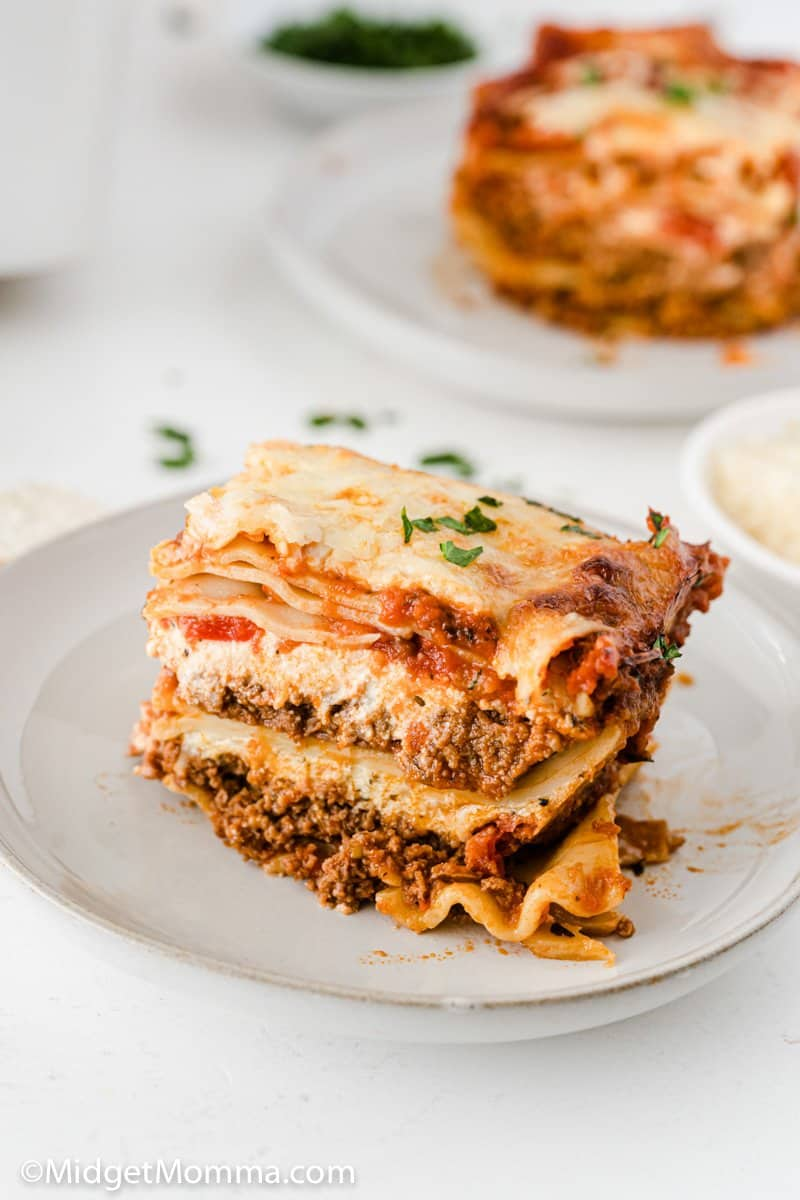 slice of Homemade Lasagna Recipe on a plate