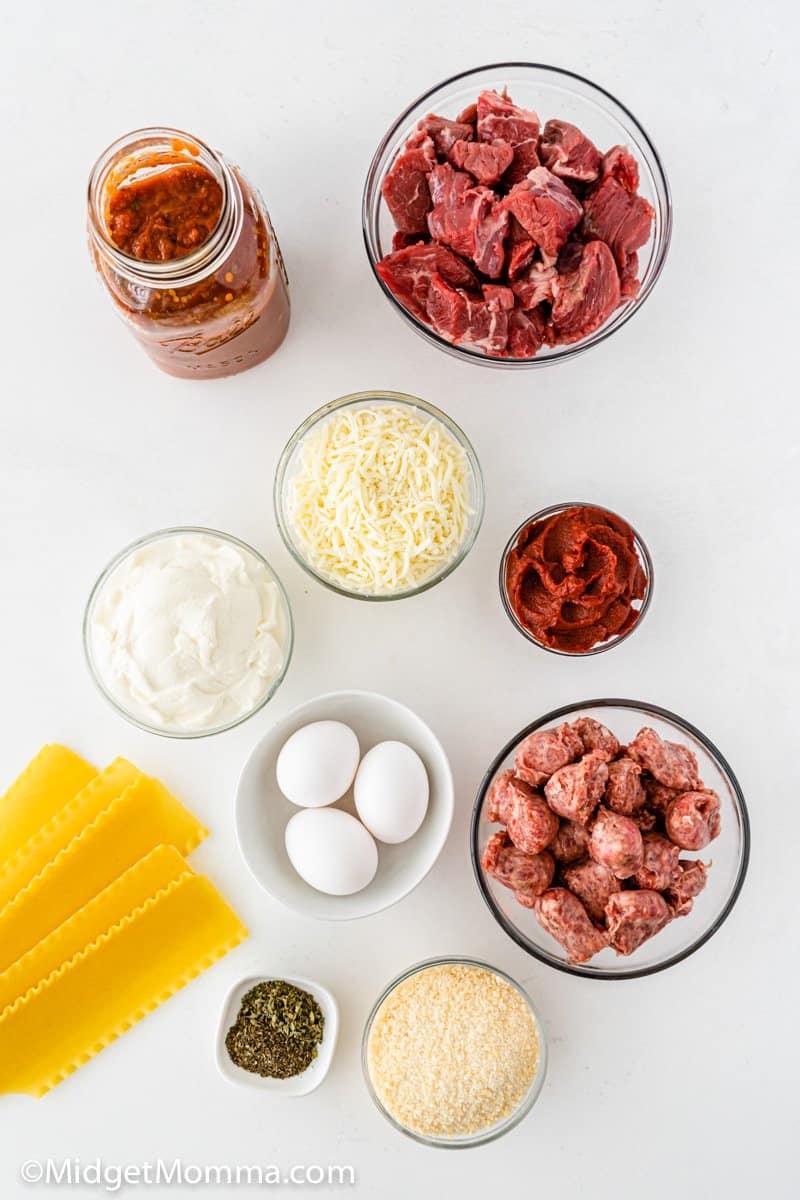 Homemade Lasagna ingredients