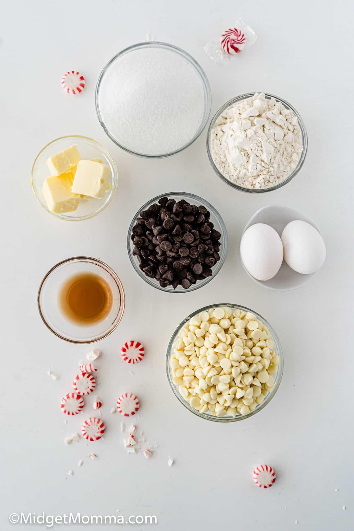 Peppermint Bark Brownies ingredients