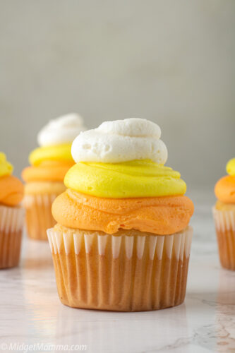 Candy Corn Cupcakes are easy to make Halloween cupcakes made with vanilla buttercream to look just like a giant candy corn.
