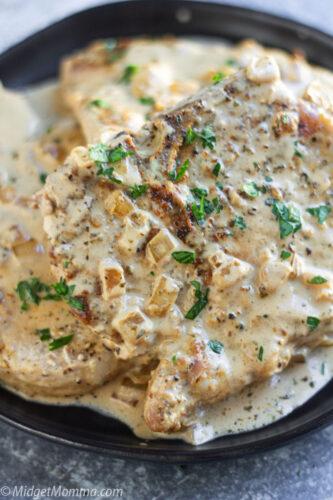 Creamy Roasted Garlic Pork Chops Recipe