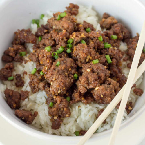 Korean Ground Beef and Rice Bowl