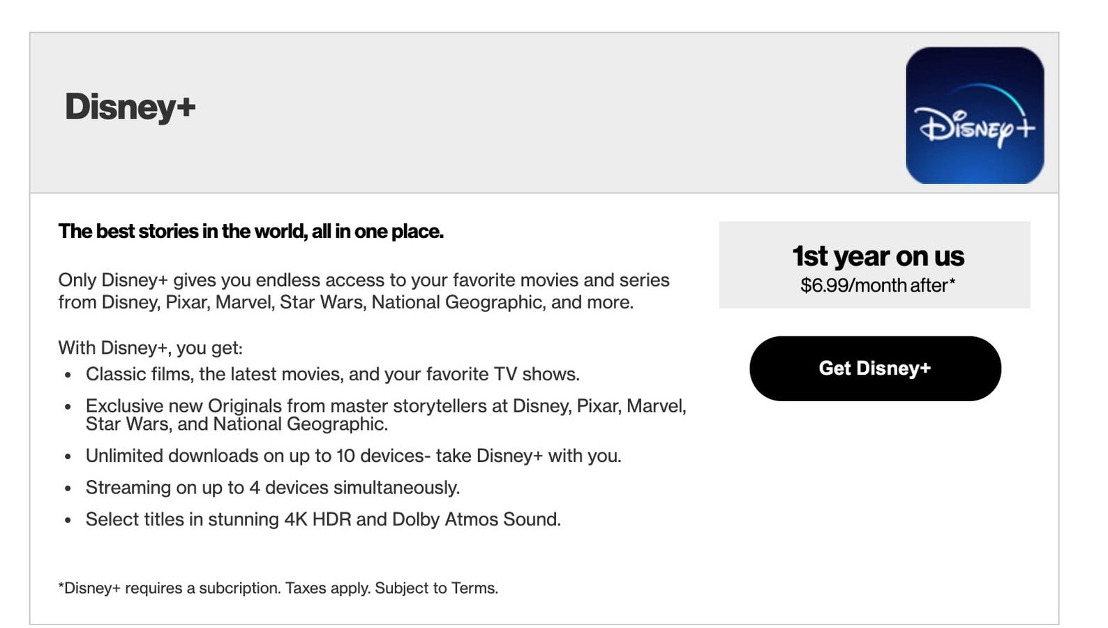 FREE Disney Plus from Verizon