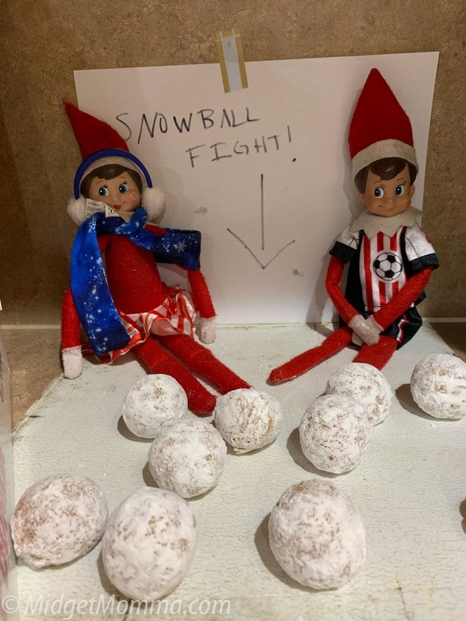 elf on the shelf idea - easy snowball fight