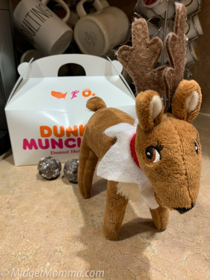 elf on the shelf reindeer poop with donuts