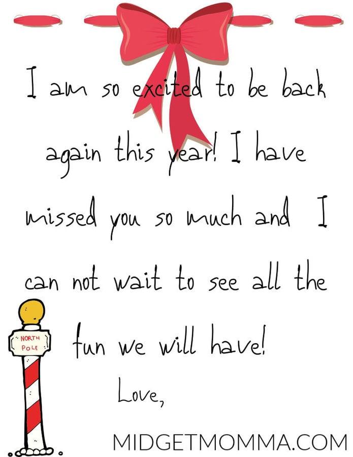 Im Back FREE Elf on the Shelf Letter Printable