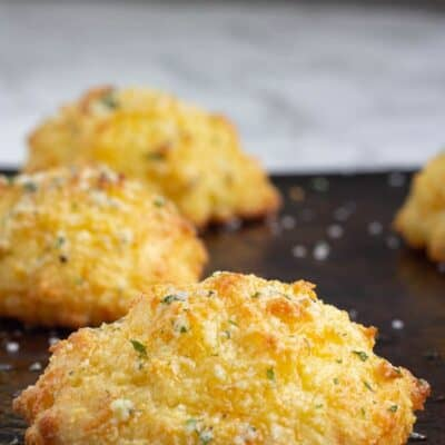 Keto Cheddar Bay Biscuits on a baking sheet