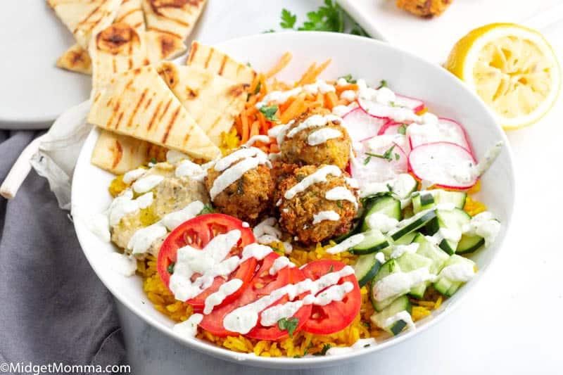 Falafel Bowls with Homemade Falafel, Turmeric Rice and Tzatziki Sauce