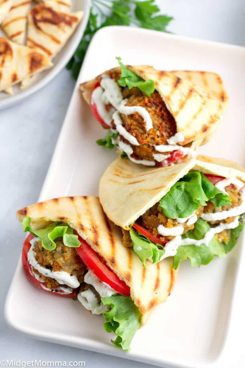 Falafel Wraps with Tzatziki Sauce on a platter