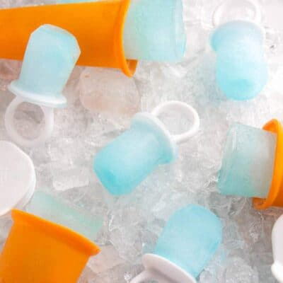 Close up shot of homemade pedialyte pops