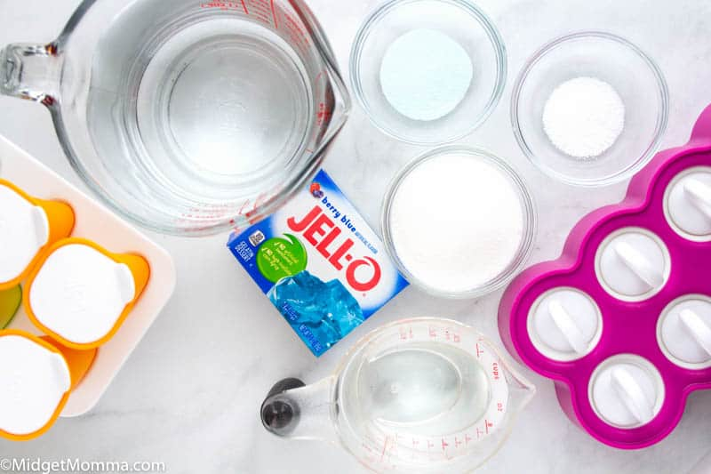 How to Make Homemade Pedialyte Popsicles ingredients - water, salt, sugar, jell-o