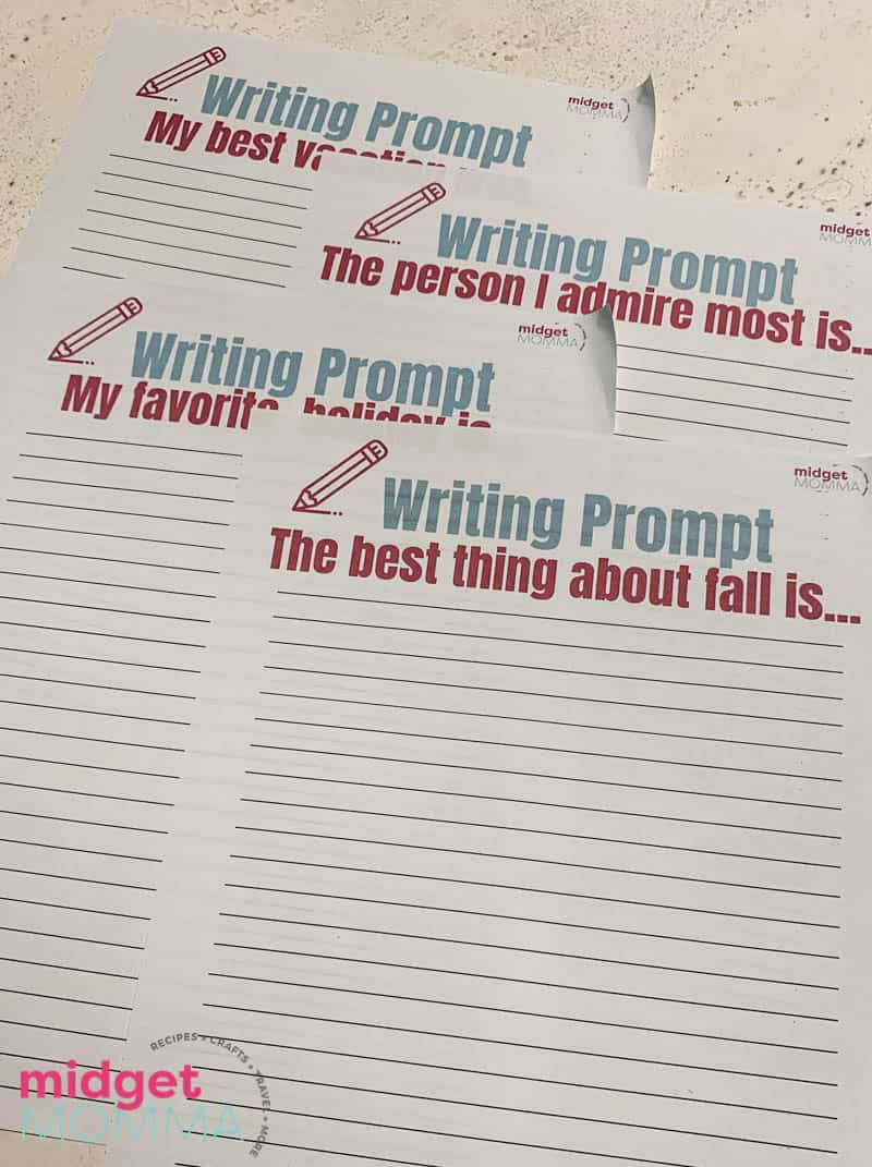 Weekly Wriitinig Prompts Printable