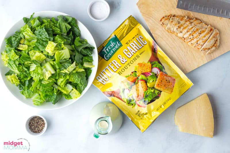 Caesar Salad with Chicken and Homemade Caesar dressing ingredients