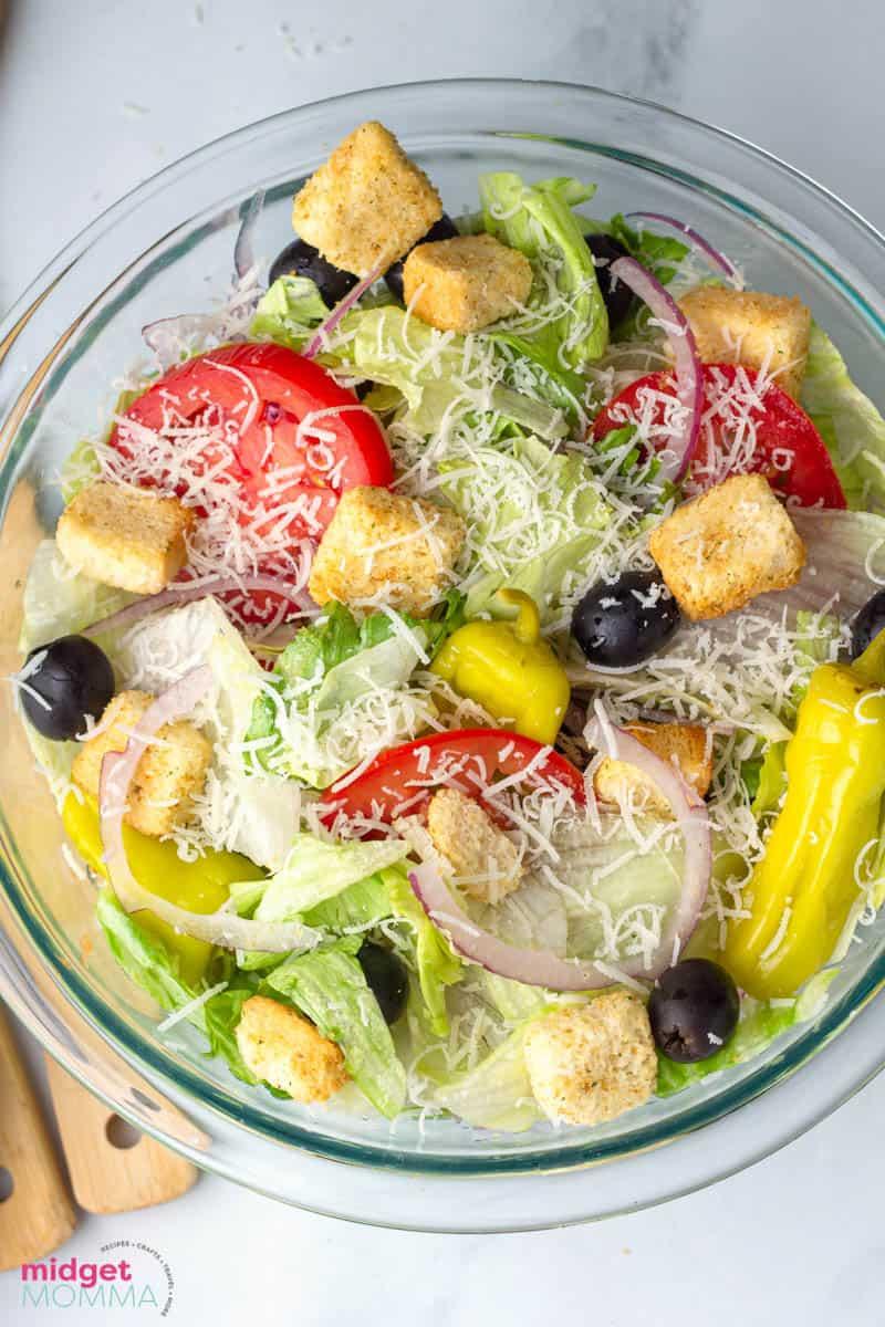 Olive Garden Salad Recipe with homemade olive garden salad dressing